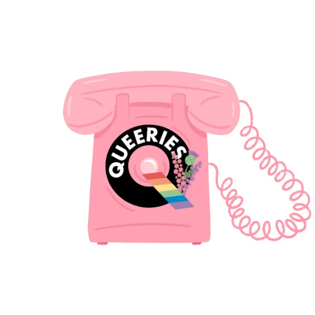 """Pink cord telephone with """"Queeries"""" written on it"""